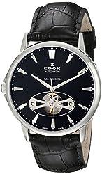 Edox Men's 85021 3 NIN Les Bemonts Analog Display Swiss Automatic Black Watch