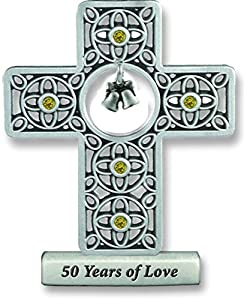 Cathedral Art SQP311 50 Years of Love Anniversary Cross, 3-Inch