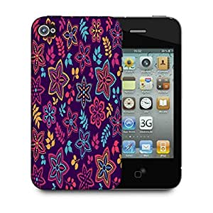 Snoogg Neon Flowers Purple Pattern Designer Protective Phone Back Case Cover For Apple Iphone 4