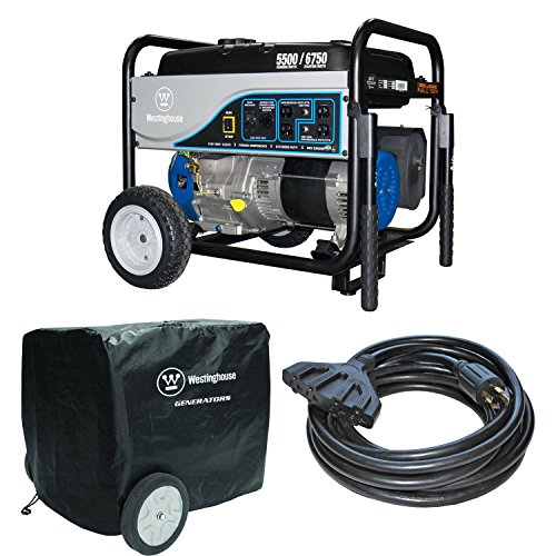 Westinghouse WH5500 5500W Gas Generator, 30 Amp 25′ Power Cord, Outdoor Cover