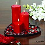 Hosley Highly Fragranced Set of 3 Heart Shape Candles with Glass Beads and Heart Shape Plate