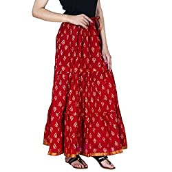 Rangsthali Gold printed Cotton Tier long Skirt for women ( free Size)