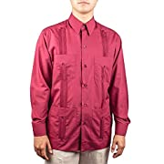 Men's Cotton blend guayabera long sleeve, color: Burgundy