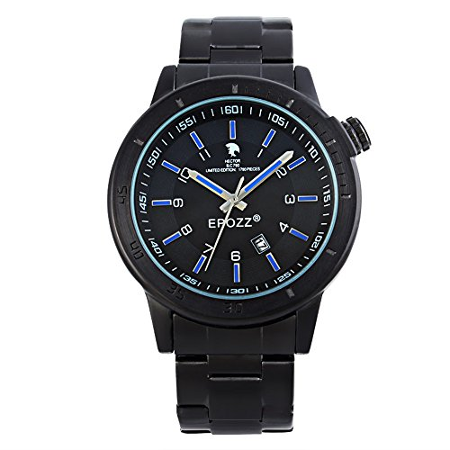 Epozz Cowboy Alloy Dial Stainless Steel Strap Japan Movement Waterproof Quartz Watches blue
