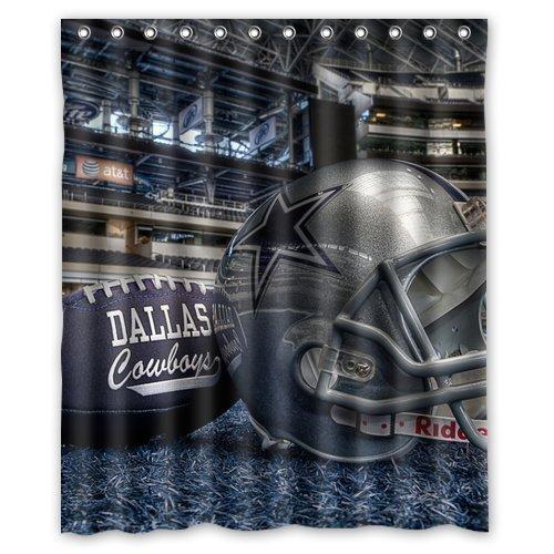 Dallas Cowboys Pattern Custom Waterproof Polyester Fabric Bathroom Shower Curtain With 12 Hooks 66