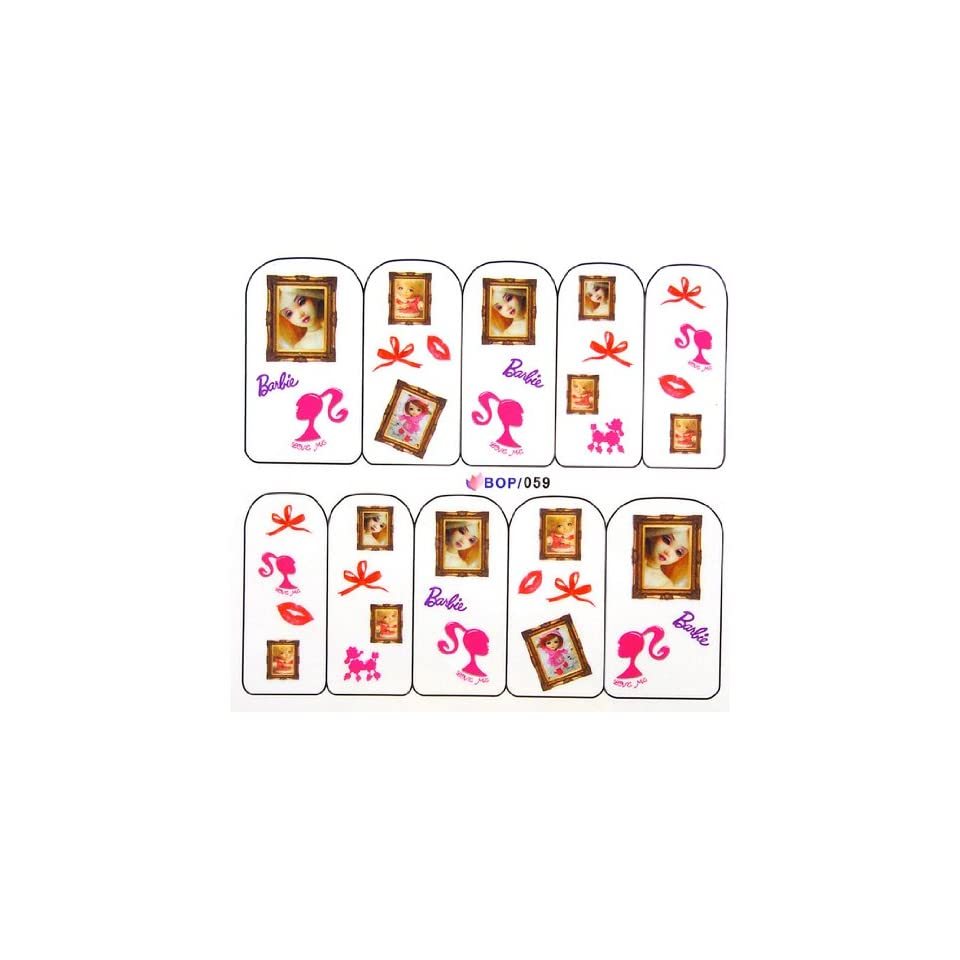 Egoodforyou BLE Water Slide Water Transfer Nail Tattoo Nail Decal Sticker Oil Portray (Barbies Dolls) with one packaged nail art flower sticker bonus