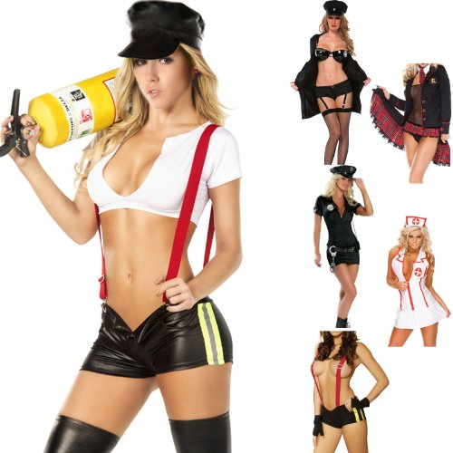 Naughty Ultimate Uniform Fancy Dress Costume Complete Outfit, Miss Corrections Officer / School Girl / Policewoman ( Cop ) / Nurse / Fire Fighter