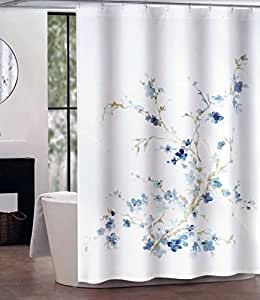 Tahari Fabric Shower Curtain Dark And Light Blue Floral Pattern W
