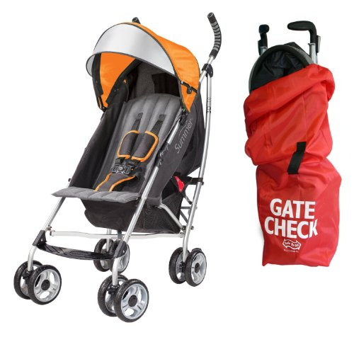 Summer Infant 3D Lite Convenience Stroller With Airport Gate Check Travel Bag, Tangerine front-542731