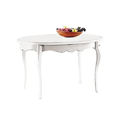Table with 1 extension of 50 cm, classic style, solid wood and MDF Oval Model - Meas. 160x110 100% made in italy