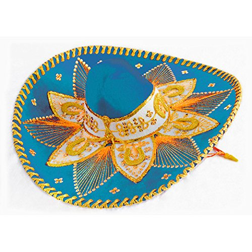 Light Blue and Gold Mariachi Sombrero