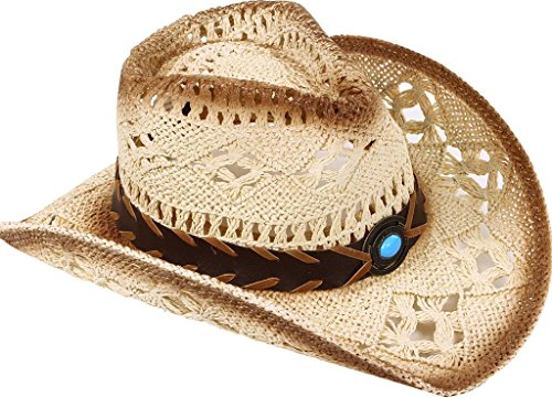 TAUT Unisex Woven Straw Ranch Cowboy Hat with Shapeable Brim Bead_Beige