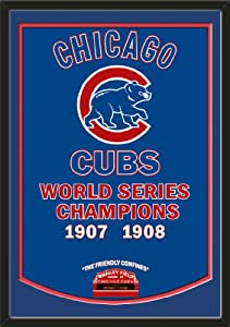 Dynasty Banner Of Chicago Cubs With Team Color Double Matting-Framed Awesome &... by Art and More, Davenport, IA