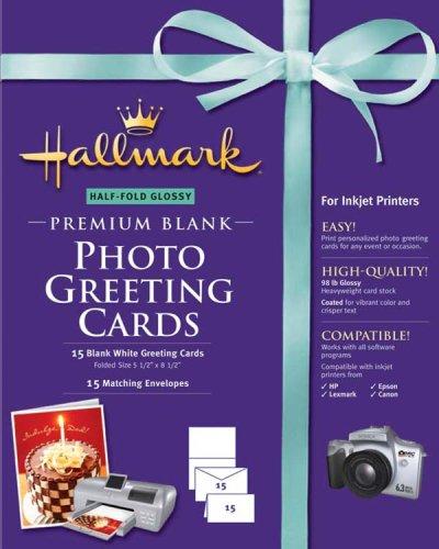 Hallmark Half-Fold Glossy Premium Photo Greeting Cards - 15 count