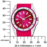 AK Anne Klein Women's 109179MAMA Swarovski Crystal Accented Silver-Tone Magenta Plastic Watch
