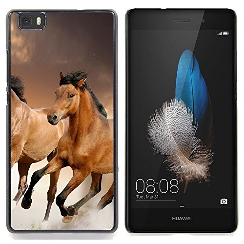 Qstar Art & Design plastica dura Guscio Protettivo Cassa Cover Per Huawei Ascend P8 Lite (Not for Normal P8) (Cavalli pelliccia Animali Natura Mustang cavallo Brown)