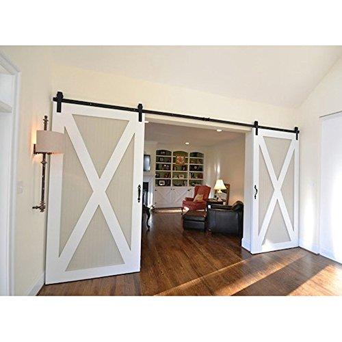 Hahaemall 12ft American Modern Interior Country Steel Brackets Sliding Double Barn Wood Door