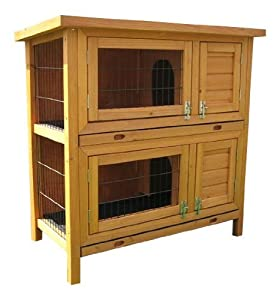 BUNNY BUSINESS Double Hutch Guinea Pig Hutch with Sliding Tray with Deluxe Hutch Cover, 36-inch