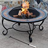 "'Villa Beacon' Outdoor Garden Fire Pit & Natural Slate Coffee Table (35"") - Fireplace Brazier with BBQ Grid / Spark Guard / Weather Cover - Mosaic Tabletop & Large Steel Firebowl"