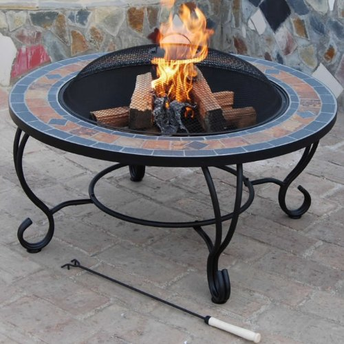 'Villa Beacon' 35 inch Diam. Natural Slate Coffee Table with Fire Pit / BBQ Grid, Safety Mesh  &  Weather Cover