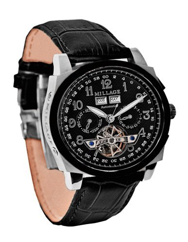 Millage Tourbillion Collection IP Black & Silver TT On Black On Black