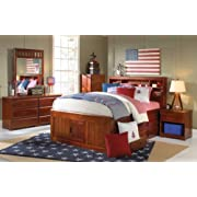 Discovery World Furniture Full Captains Bed Bookcase with 6 Drawers, Desk, Hutch and Chair in Merlot Finish