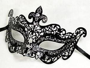 Black Mystic Elegant Luxury Beautiful Mask w/ Diamond Women's Mask Mardi Gras Majestic Party Halloween Ball Prom