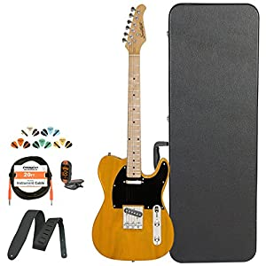 Sawtooth Classic ET 50 Ash Body Electric Guitar, Case, Cable, Picks, Strap and Tuner by Sawtooth