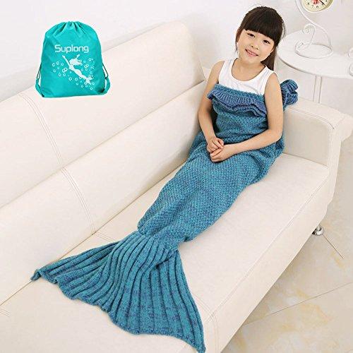 Mermaid Tail Decke, AIGUMI All Seasons Meerjungfrau Schlafsack Blanket, Häkeln Handwerk Warm Sofa Wohnzimmer BlankeT für Kinder (Blauer See) thumbnail