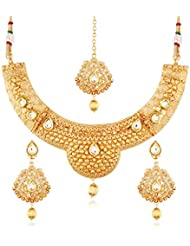 I Jewels 24K Gold Plated Traditional Jewellery Set With Maang Tikka For Women MS113