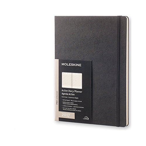 Moleskine 2017 Weekly Action Planner, Vertical, 12M, Extra Large, Black, Hard Cover (7.5 x 10)