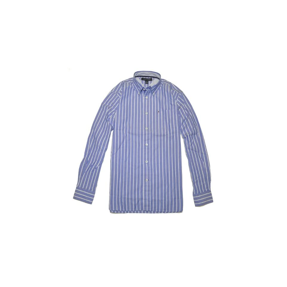 Tommy Hilfiger Men Long Sleeve Striped Shirt (L, Blue