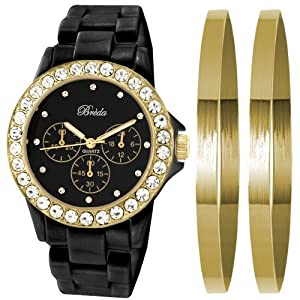 Breda Women's 8140-blackgold.BR Cassandra Rhinestone Accented Watch with Classic Jewelry Bangle Set