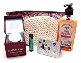 Savannah Bee Company 5 Piece Hand & Body Gift Set Bundle with Zippered Pouch