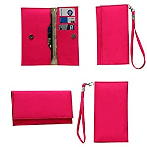 Jo Jo A5 G8 Leather Wallet Universal Pouch Cover Case For Spice Mi-436 Stellar Glamour Bright Pink