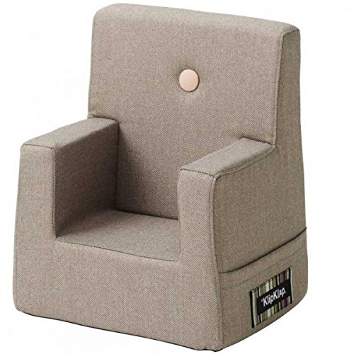 by KlipKlap Kids Chair - Warm grey with peach button