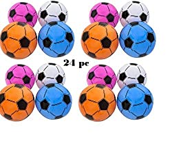 24 Inflatable Assorted Soccer Balls Colorful 16 Soccer Ball inflates Birthday Favor Decor Goody Bag Filler Team Coach Prize Pool Party Favor Beachballs oudoor New