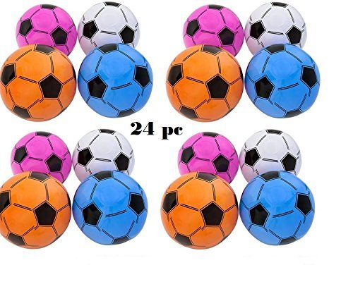 (24) Inflatable Assorted Soccer Balls ~ Colorful 16'' Soccer Ball inflates ~ Birthday Favor Decor Goody Bag Filler ~ Team Coach Prize ~ Pool Party Favor Beachballs oudoor ~ New (Soccer Balls Package compare prices)