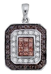0.75 cttw 14k White Gold Black Diamond and White Diamond Octagon Pendant