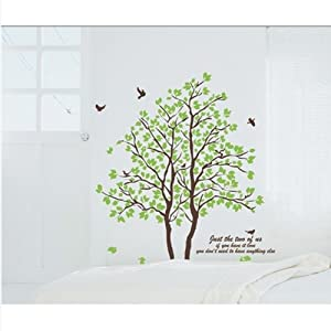 DIY Large Wall Quote Decor Art Decal Sticker Removable Green Tree Leaves Birds from Other