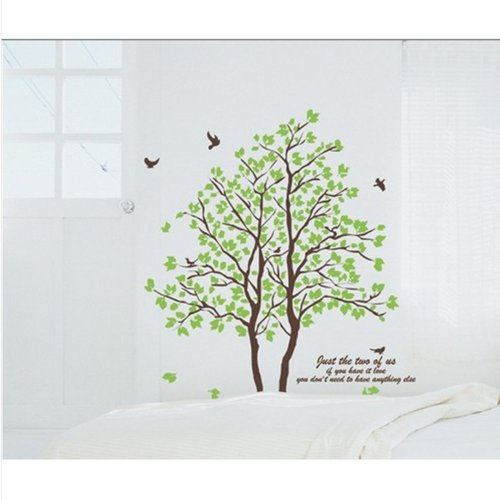 Diy Large Wall Quote Decor Art Decal Sticker Removable Green Tree Leaves Birds front-1004095