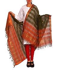 Unnati Silks Women Casual Green And Orange Pure Mangalgiri Cotton Dupatta