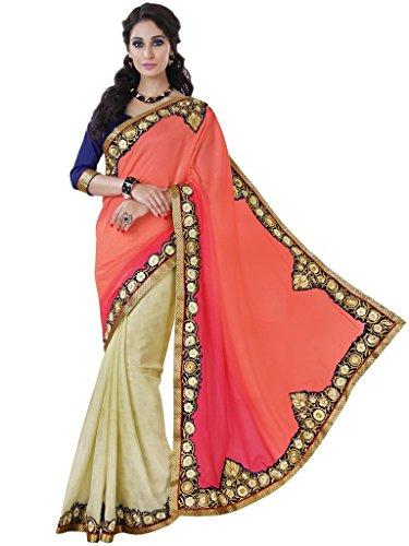 Melluha Pink And Off White Satin Jacquard Half And Half Designer Sarees