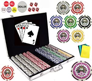 1000 7-Denomination 11.5 Gram Clay Composite Gambling Poker Chip Chipset with Carrying Case and Gaming Accessories.