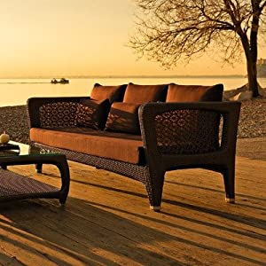 Altea 3 Seater Sofa with Low Back by Varaschin R and D Colour: Bronze, Cushion: Panama Castoro by Varaschin