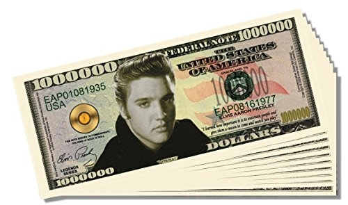 Elvis Presley Novelty Million Dollar Bill - 25 Count with Bonus Clear Protector & Christopher Columbus Bill