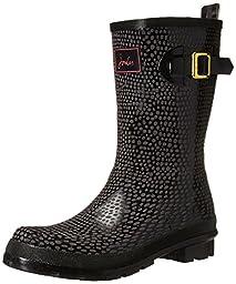 Joules Women\'s Nessie Short Rain Boot, Black Snake, 10 M US