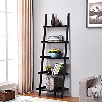 "Black Finish 5 Tier Bookcase Shelf Ladder Leaning - 72"" Height"