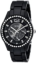 XOXO Women's XO5483 Rhinestone Accent Black Analog Bracelet Watch