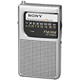 Sony All in One Compact Design Pocket Size Portable AM/FM Radio with Built-in Speaker, Earphone Jack, LED Tuning Indicator & Carry Strap